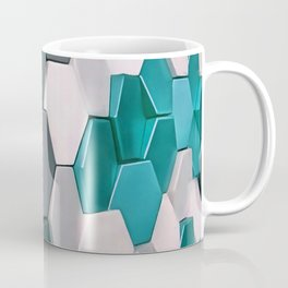 What The Hex 3D Geo Abstract In Steel, Turquoise Blue and White Coffee Mug