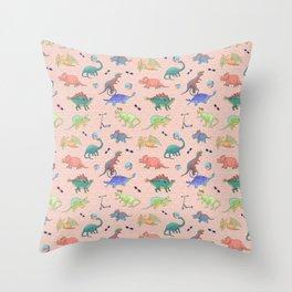 Dinosaur Kids Colorful Pattern - Pink Theme Throw Pillow