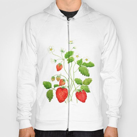 strawberry and strawberry flowers watercolor painting Hoody