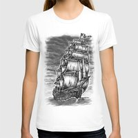 pirate ship T-shirts featuring Caleuche Ghost Pirate Ship by Roberto Jaras Lira