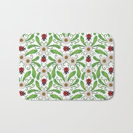 Ladybugs & Daisies - Cute Floral Bug Pattern with Ladybirds Bath Mat