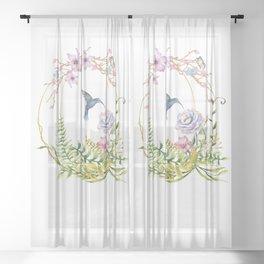 Glittering Golden Floral Hummingbird Terrarium Sheer Curtain