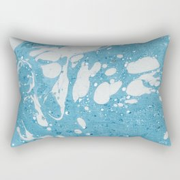 Blue Liquid Paint With Cream Splashes Abstract Design Rectangular Pillow