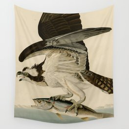 Vintage Osprey Catching a Fish Illustration (1838) Wall Tapestry