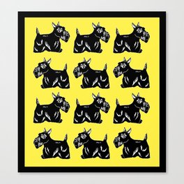 Scottie Dogs Yellow and Black Pattern Canvas Print