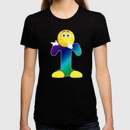 Letter T Alphabet Smiley Monogram Face Emoji Shirt for Men Women Kids T-shirt