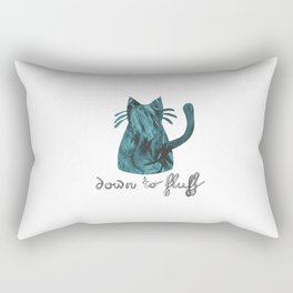 Down to Fluff Cute Cat Quote Blue Abstract Print Rectangular Pillow
