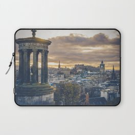 Edinburgh city and castle from Calton hill and Stewart monument Laptop Sleeve
