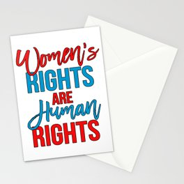 Women's rights are human rights Red Blue, Women's marches Stationery Cards