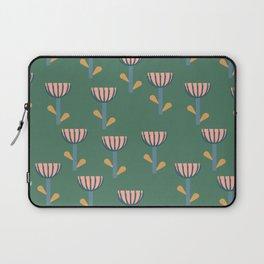 Folksy Floral Pattern in Green Laptop Sleeve