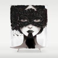 la Shower Curtains featuring La veuve affamee by Ludovic Jacqz