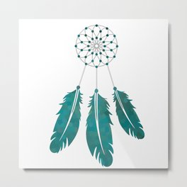 Magic Dreamcatcher with beads and feathers the color of sea water Metal Print