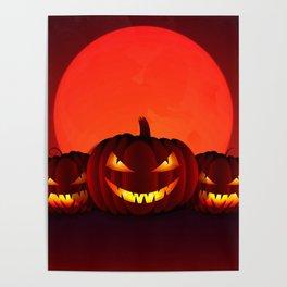 Happy Halloween 3 Pumpkins Poster