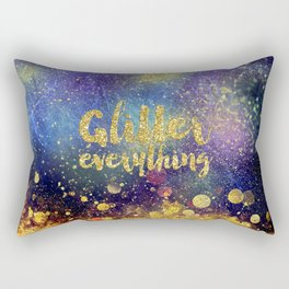 Glitter everything- Girly Gold Glitter effect Space Typography Rectangular Pillow