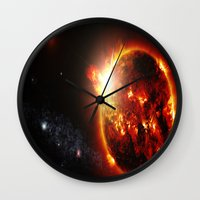 planet Wall Clocks featuring Galaxy : Red Dwarf Star by 2sweet4words Designs