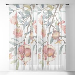 Pregnant Pomegranate Plant Sheer Curtain