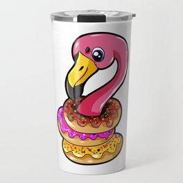 Donut Flamingo Cartoon Sweets Flamenco present Travel Mug
