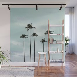 Palm Tree | Landscape Photography | Sunset Clouds | Blue Sky | Minimalism Wall Mural