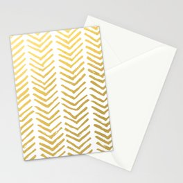 Brush painted chevron in gold Stationery Cards