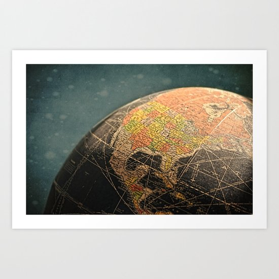 Where I Am (Vintage Globe) Art Print