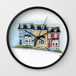 Jellybean Row - Newfoundland houses, buildings Wall Clock