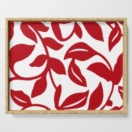 LEAF PALM VINE IN RED AND WHITE PATTERN Serving Tray