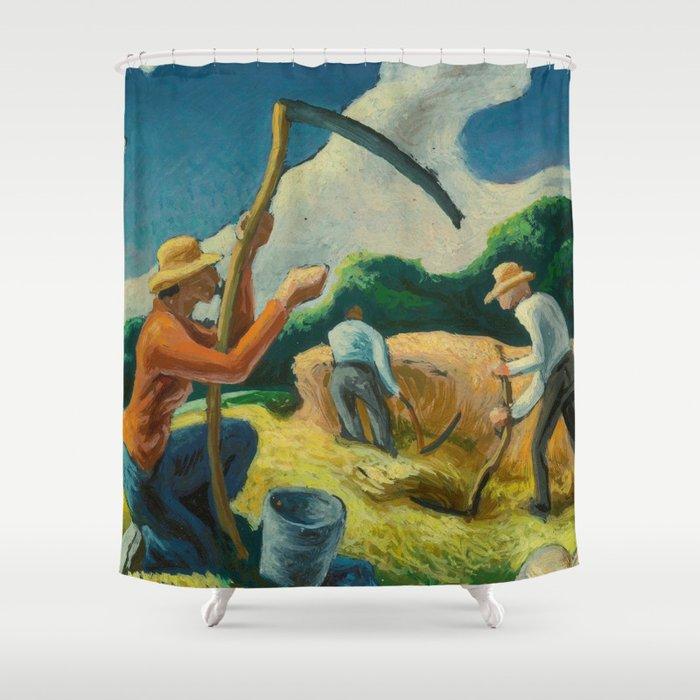 Classical Masterpiece 'Island Hay' by Thomas Hart Benton Shower Curtain