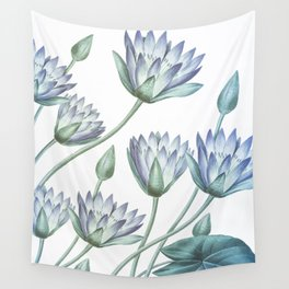 Water Lily Blue Wall Tapestry