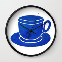 Blue Watercolour Tea Cup And Saucer  Wall Clock