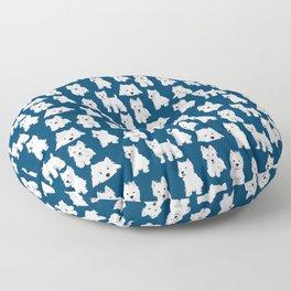 Westies on Blue Floor Pillow