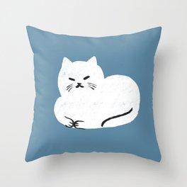 Comfy Cat WarmBlue Throw Pillow