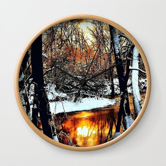 Golden Winter Wall Clock