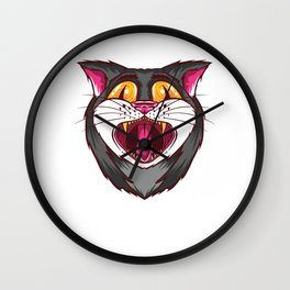 Yawning psychedelic cat - on LSD and ecstasy Wall Clock