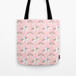 Girly pastel pink white magical rainbow cute Unicorn pattern Tote Bag