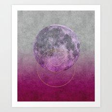 Pink Moon geometric circle mixed media Art Print