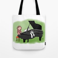 piano Tote Bags featuring PIANO by Andrea Lacuesta Art