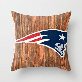 NFL Patriots Wood Logo Throw Pillow