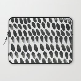 Black and White Abstract Watercolor Polka Dot Brushtrokes Painting Laptop Sleeve
