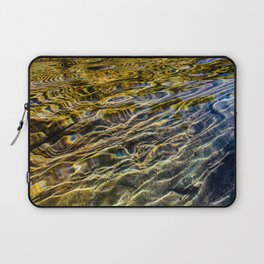 Prismatic Waves in Blue Gold and Green Laptop Sleeve