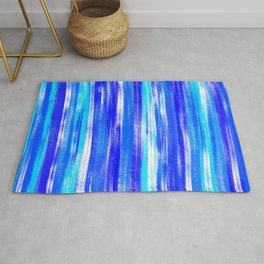 Blue and White Pastel Stripe Pattern Modern Abstract Rug