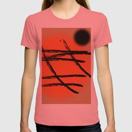Black abstract Japan lines and marks on the orange setting sun T-shirt
