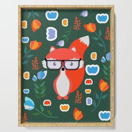 Fox with glasses and flowers Serving Tray