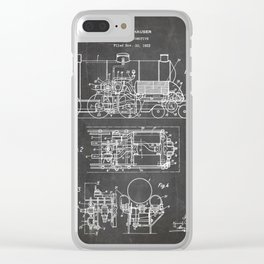 Steam Train Patent - Steam Locomotive Art - Black Chalkboard Clear iPhone Case