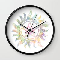 supernatural Wall Clocks featuring Supernatural watercolours by Dan Lebrun