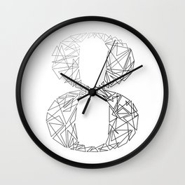 ''Geometry Collection'' - Minimal Number Eight Print Wall Clock