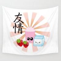 friendship Wall Tapestries featuring Milkshake Friendship by Mazuki Arts
