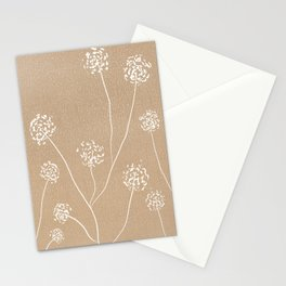 Dandelions flowers illustration on beige kraft Stationery Cards