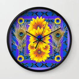 LILAC-BLUE PEACOCK JEWELED SUNFLOWERS Wall Clock
