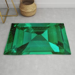 FACETED EMERALD GREEN MAY GEMSTONE Rug