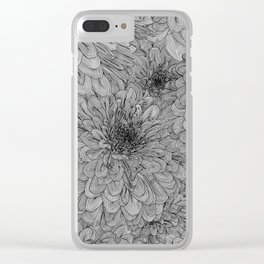 Linework Zinnias Clear iPhone Case